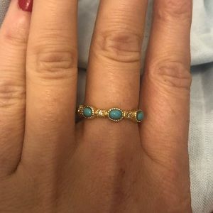 Gold and turquoise stacking ring size 6.5